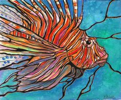 Colorful LIONFISH Tropical Fish Coral Reef Art by karenmccantsart