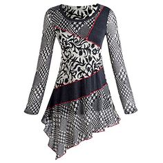 Women's Houndstooth And Floral Patch Long Sleeve Asymmetrical Tunic Top - Small null http://www.amazon.com/dp/B00QJECCDO/ref=cm_sw_r_pi_dp_dSuewb0X671AH