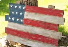Create a pallet style flag for the Fourth of July from scrap wood