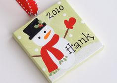 3x3 Canvas Christmas Ornament  - Personalized. $7.25, via Etsy.