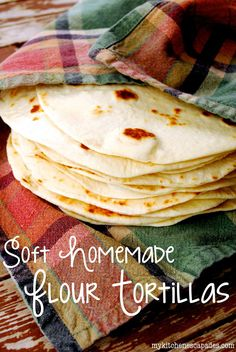 makes 12 tortillas 3 C flour; 2 t baking powder; 1 t salt; 5 T shortening or lard; 3/4 c warm waterr