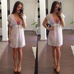 White Beach Cover Up White lace beach cover up. This dress is very stretchy and looks great over any color bikini. Brand new with tags. BECCA Dresses