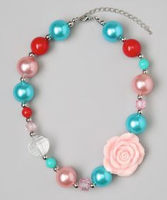 Take a look at this Blue & Pink Flower Bead Necklace by Olivia Rae on #zulily today!