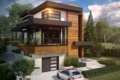Maison Tanguay dream home variable geometry Villa Design, Cabin Design, Contemporary House Plans, Modern House Design, Style At Home, Architecture Design, Garage Guest House, Double Storey House, Prairie Style Houses