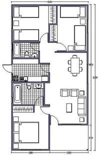 L shaped 50 sqm granny flat plan Model House Plan, My House Plans, Cabin Plans, Small House Plans, House Floor Plans, Small Tiny House, Small House Design, Granny Flat Plans, Bungalow Haus Design