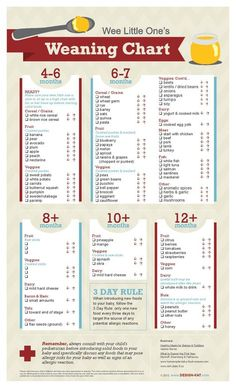 Weaning Chart but without rice cereal