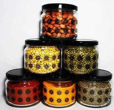 Buy Online Printed Design & Airtight Glass Jar With Colorful Lid At Best Price in India! Kitchen Storage Containers, Kitchen Jars, Glass Containers, Jar Storage, Glass Jars, Kitchen Layout, Kitchen Design, Buy Prints, Print Design