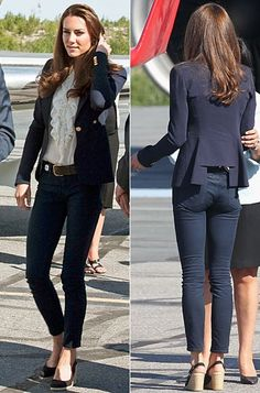 Catherine Middleton, Duchess of Cambridge, in a Smythe blazer and J Brand jeans Moda Kate Middleton, Looks Kate Middleton, Estilo Kate Middleton, Kate Middleton Outfits, Princess Kate Middleton, Mode Outfits, Casual Outfits, Fashion Outfits, Womens Fashion