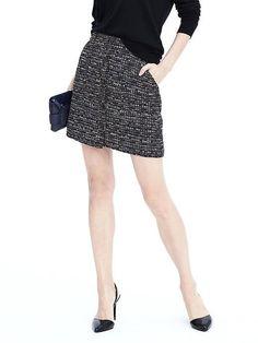 Button Down Textured Mini Skirt