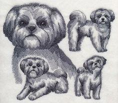 RQQ™ Shih Tzu dog pet rescue animal Sketch embroidered fabric quilt block square
