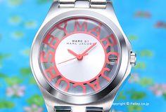 【MARC JACOBS】マークジェイコブス 腕時計 Henry Skelton (ヘンリー スケルトン) シルバー×フルーロコーラル レディス MBM3294