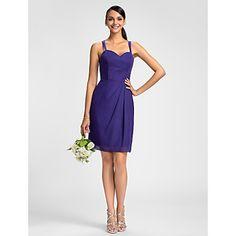 LAN+TING+BRIDE+Knee-length+Spaghetti+Straps+Bridesmaid+Dress+-+Short+Sleeveless+Chiffon+–+USD+$+69.99