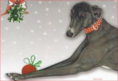 Black Greyhound Christmas Cards