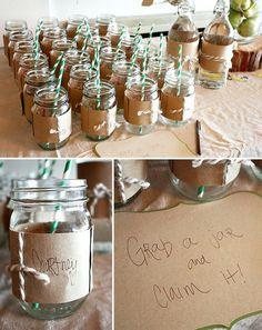 Mason Jar used at a party.