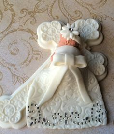 1 baby girl in christening outfit non edible studs on bottom 1 cross * * Fondant Cake Toppers, Fondant Cookies, Fondant Baby, Christening Outfit, Christening Cakes, Baptism Gown, Buckwheat Cake, Baby Girl First Birthday, Cupcakes