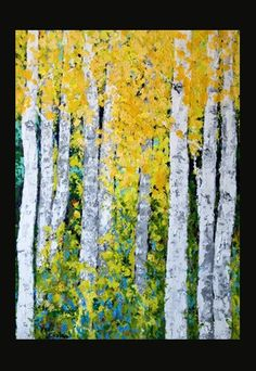 Aspen Birch Trees Original Acrylic Painting on 24 x by VickisArt, $375.00
