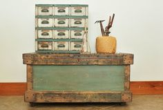 Antique Steel Reinforced Pine Carpenters Tool Chest Coffee Table
