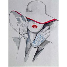 Chanel Fashion Illustration Art Original Watercolor Painting by Lana ($45) ❤ liked on Polyvore