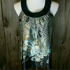 Paisley Print Blouse ~Blue, green & black design  ~Satin soft material  ~100% polyester A. Byer  Tops