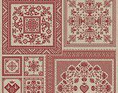 Modern Folk:  traditional and Scandinavian cross-stitch patterns  Garden Squares - Four Original Cross-Stitch Patterns - PDF Pattern