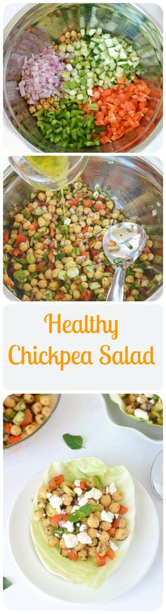 Healthy and refreshing chickpeas salad prepared with fresh veggies and tossed in a lemon olive oil dressing is part of Chickpea salad - Healthy Salad Recipes, Veggie Recipes, Indian Food Recipes, Diet Recipes, Healthy Snacks, Vegetarian Recipes, Healthy Eating, Cooking Recipes, Recipies