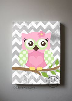Girls wall art  OWL canvas art Baby Nursery  ... Tara do you think you could make this for me if i got you the stuff ?? I Need this for Aubrees room :)