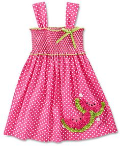 Bonnie Jean Little Girls' Dotted Smocked Sundress