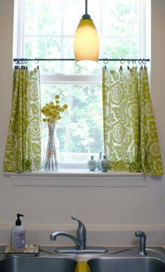I can see something like this for your kitchen curtains only in red/white.Kitchen cafe curtains with a tension rod and curtain clips. Kitchen Window Curtains, Kitchen Window Treatments, Bathroom Windows, Kitchen Windows, Kitchen Window Shelves, Kitchen Blinds, Curtains And Draperies, Diy Curtains, Blackout Curtains