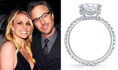 Pop singer Britney Spears was given an 3-plus carat round diamond engagement ring by Jason Trawick, her former agent. The ring, created by Neil Lane, features an eternity band, meaning that the diamonds go all the way around the band, with 90 small pave-set diamonds set in platinum. Diamonds also accent the center diamond. The concept behind the ring is a tiara or mini crown.