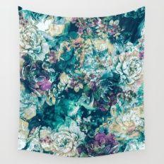 Frozen Flowers Wall Tapestry