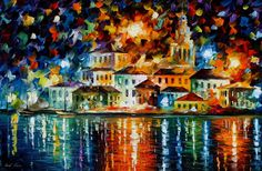 Night Harbour — PALETTE KNIFE Oil Painting on Canvas by AfremovArtStudio. Official Shop: https://www.etsy.com/shop/AfremovArtStudio