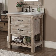 This rustic style bathroom vanity features with tip out trays, soft-closing drawres, natural stone top with backsplash and white ceramic sink.