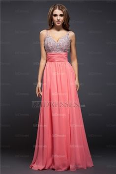 Sheath/Column Spaghetti Straps Chiffon Prom Dresses - IZIDRESSES.COM