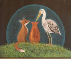 The fox and the stork - Noelle Mckown Blackboard Drawing, Chalkboard Drawings, Chalkboard Art, Crayon Drawings, Chalk Drawings, Fox Painting, Watercolor Paintings, Form Drawing, Faux Stained Glass