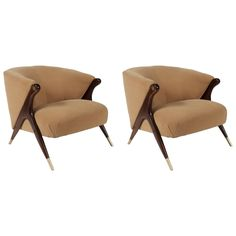 Gorgeous Pair of 1950s Karpen Lounge Chairs | From a unique collection of…