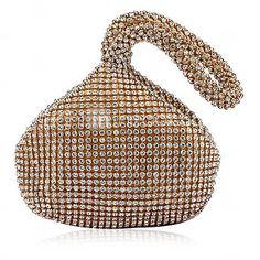 Satin preciosa con diamantes de imitación Peach Forma de noche bolso / Embragues (más colores)