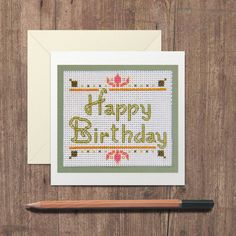 A Very Nouveau Birthday Card Cross Stitch Pattern  Instant