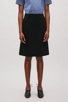 COS image 2 of A-line mid-length skirt in Black
