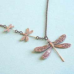 Silver Dragonfly  Jewelry  Necklace by mcstoneworks on Etsy, $28.00