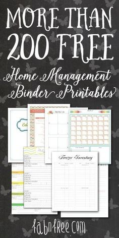 More than 200 Free Home Management Binder Printables by Chevaliera D. Jones
