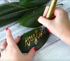 "Creative ""place card"" idea for green and gold garden/tropical weddings: hand calligraphy on fresh leaves"