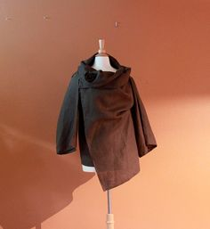 chocolate linen fall wrap with flower by annyschooecoclothing, $118.00