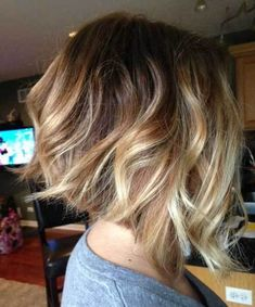 The balayage hair and the short blonde hairstyles are the hottest topics in this year! You can see the balayage hair everywhere now. Ombre hair is trendy. Hair Styles 2016, Medium Hair Styles, Curly Hair Styles, Inverted Bob Haircuts, Short Bob Haircuts, Haircut Bob, Layered Haircuts, Wavy Inverted Bob, Haircut Styles