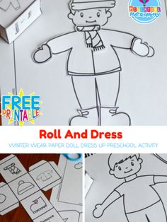 Roll And Dress Winter Wear Preschool Roll The Dice Dress Up Paper Doll Coloring Page Activity Still playing on all the snow excitement with this roll and dress activity. Dress the little boy for wi… Preschool Printables, Preschool Lessons, Preschool Crafts, Preschool Spanish, Preschool Winter, Teaching Spanish, Winter Girl, Winter Wear, Winter Dresses