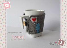 Felt Cup Cosy Love Bird Coffee Cup Sleeve Mug Cosy