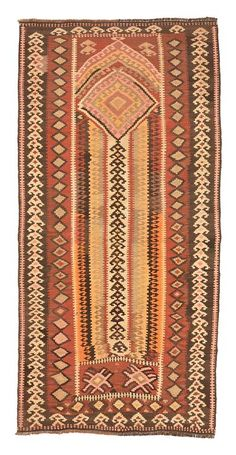 Vintage Bayburt Kilim Rug around 60 years old.