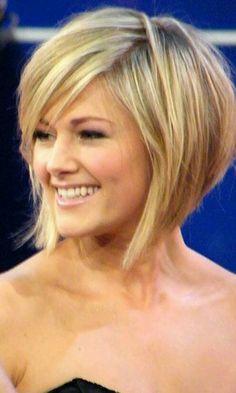 Short blonde bob with side swept bangs