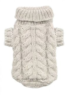 Posh Puppy Boutique is a shop for designer dog clothes and accessories -Angora Cable Knit Sweater in Sand puppy Shop By Designer - Hip Doggie, pet toys, collars, luxurious carriers, treats, stunning bowls,  fancy id tags, harnesses, apparel