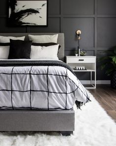 See how we transformed our boring master bedroom into a neutral monochrome moder. See how we transformed our boring master bedroom into a neutral monochrome modern bedroom with these simple black and white decor ideas! Simple Bedroom Decor, Modern Bedroom Design, Home Decor Bedroom, Decor Interior Design, Bedroom Ideas, Bedroom Designs, Bedroom Styles, Diy Bedroom, Modern Decor