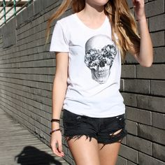 TenThings. SKULL. vintage style soft cotton. tshirt. by TenThings, $28.00